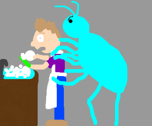 Angry giant blue spider humping a dishwasher.