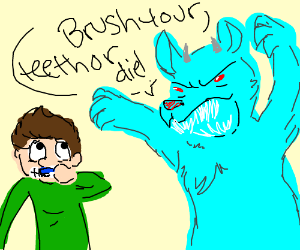 Blue monster forces guy to brush teeth!