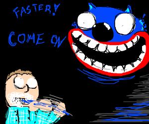 Blue demon wolf scares boy into brushing teeth