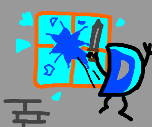Drawception D jumps out of window with sword
