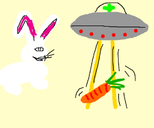 Rabbit ignores UFO, goes for the carrot