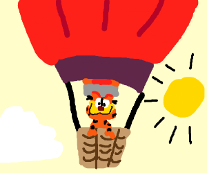 Garfiled in a hot air balloon
