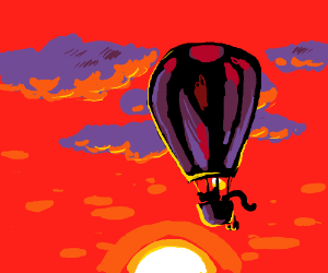 garfield in a hot air balloon