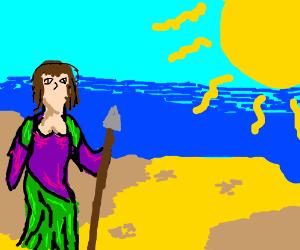 Nubian princess of Hippolyta stands sentinel
