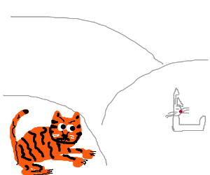 A tiger hunts an L rabbit in a snowstorm.