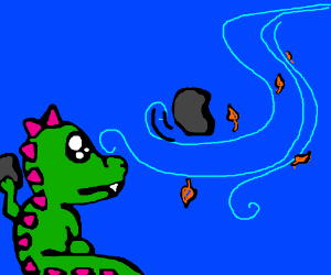 Cute dragon tosses boulders to the wind!