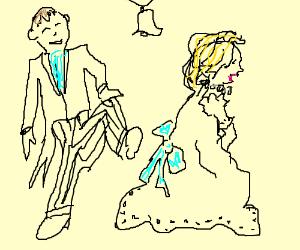 Groom kicks bride at wedding.