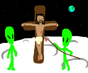Alien cruxifying Jesus on the moon