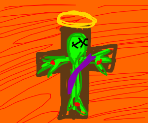 Alien jesus died for your sins