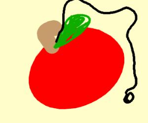 Using an apple as yo-yo toy