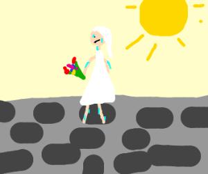 a sweaty bride walks on the rock path?