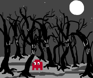 Pacman ghost walking through creepy forest