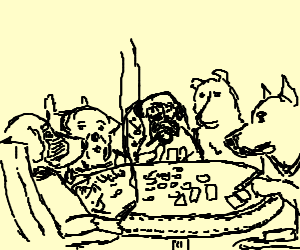 they're dogs and they're playing poker!