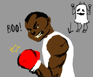 Balrog from Street Fighter dressed as a ghost
