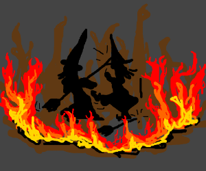 Two witches havin a HOT fight!