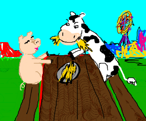 farm animals share picnic table at county fair