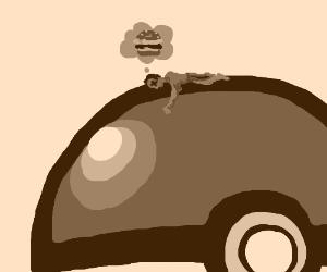 Tiny man dies of hunger atop a Pokeball.