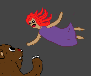 Lady pounces on a bear ensnared in her trap.