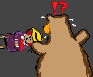 Crazed redhead flings herself at confused bear