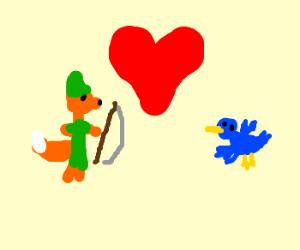 Robin hood fox loves a blue bird.