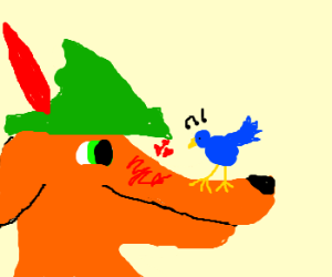 Fox Robin Hood besotted with bluebird.