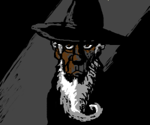 Morgan freeman with a beard and a witch hat