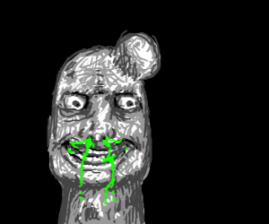 Bald man with lump on head and green snot