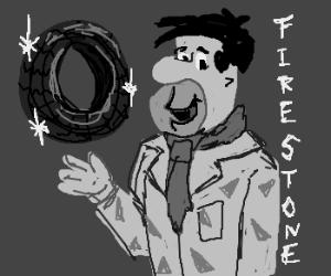 Fred Flintstone invents the wheel
