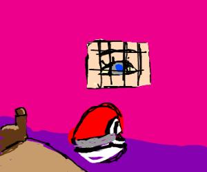 an open pokeball inside a doll house