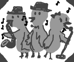 Birds singing jazz music