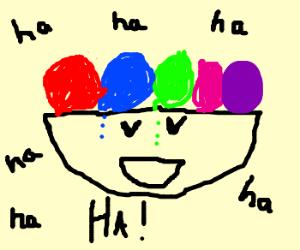 a rainbow-coloured ice-cream sundae. laughing.