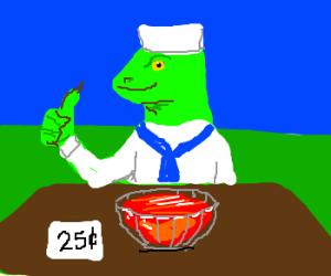 Sailorsaur selling Jello for 25 cents