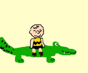 Charlie Brown is self-aware, rides crocodile