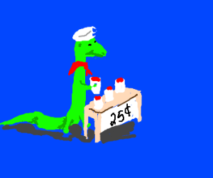 Lizard Sailor sells Fruit Punch for 25 cents