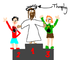 Jesus wins da olympics.Gets thorns for laurels