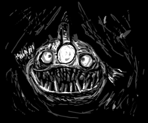 Angler Fish is mesmerized by it's own light.