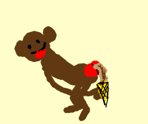 "Monkey Loves His ""Chocolate"" Ice Cream Cone"