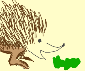 hedgehog eating green gummy bear