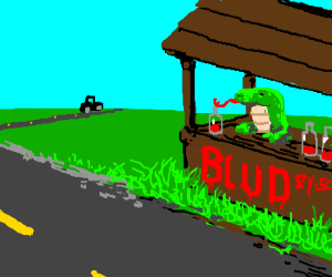 Lizard selling blood by the roadside