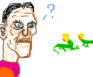Flamboyant man confused by Simpson lizards