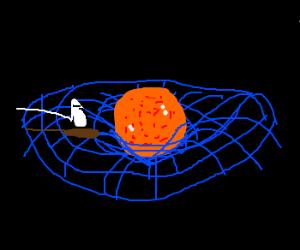 Spacetime-slicing-keel-boat sails into sunset