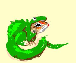 Chipmunk in Halloween lizard costume