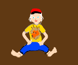 albino toddler with lion shirt and red basecap