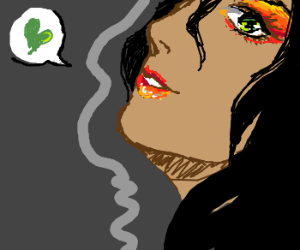 Cute lady in profile with a green love vibe.