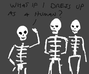 Skeleton teenager plans a scare.