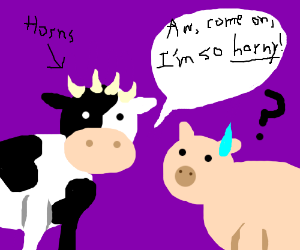 """""""Horny"""" Cow is getting frisky with the Pig."""