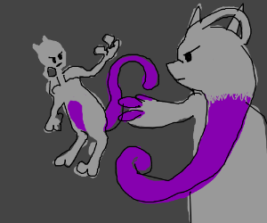 Mewtwo fights a mutation of himself