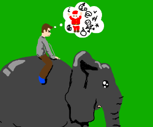 Man riding elephant hates Christmas