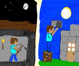 I dig my hole, you build a wall  - Drawception