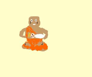 Buddha holds the Baby Jesus.